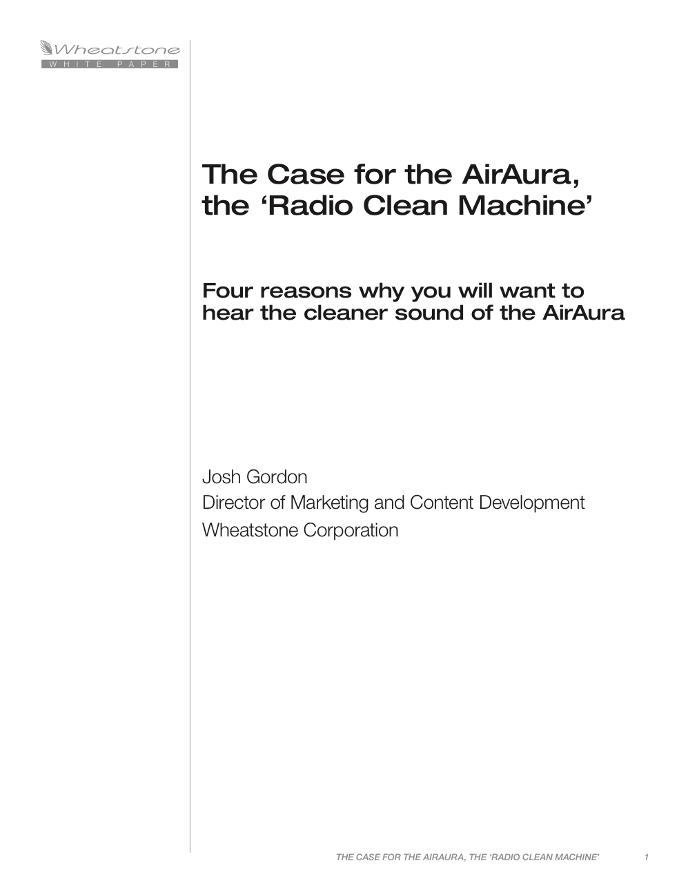 AirAura: The Case for the Clean Machine White Paper
